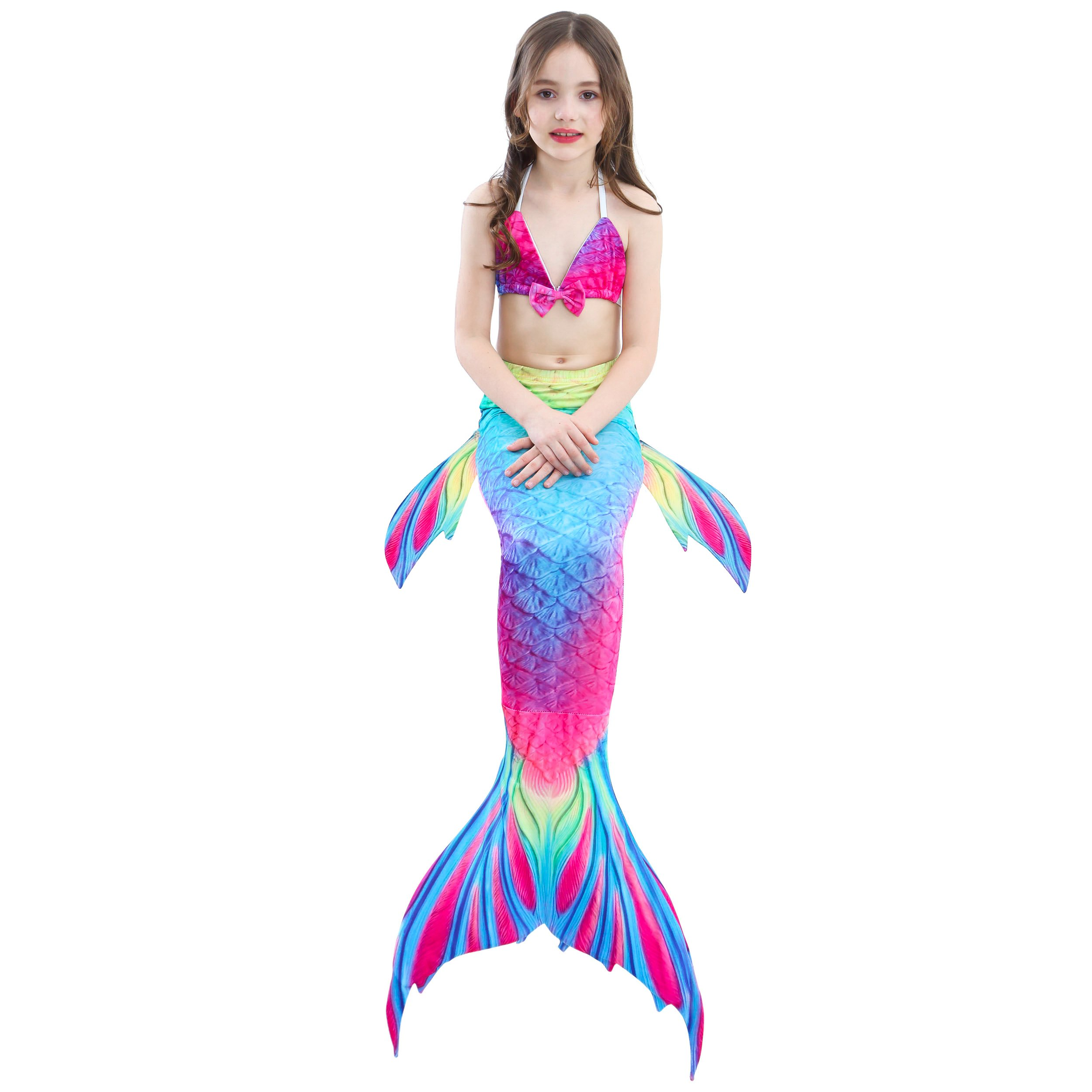 Camlinbo 3PCS Girls' Swimsuit Mermaid Tail for Swimming Tropical Bikini Set Support Monofin by Camlinbo (Image #7)