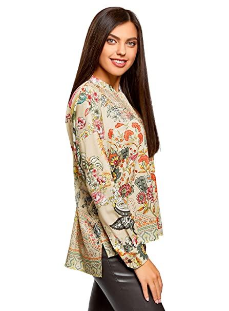 oodji Collection Mujer Blusa Ancha con Estampado Floral, Beige, ES 36 / XS