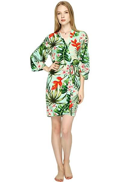 d3e9302b1d Women Cotton Leaf Floral Robe Bride Robe Bridesmaid Kimono Robe ...