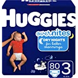 HUGGIES OverNites Diapers, Size 3, 80 Count, Overnight Diapers (Packaging May Vary)