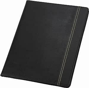 Samsill 71220 Slimline Padfolio, Leather-Look/Faux Reptile Trim, Writing Pad, Black