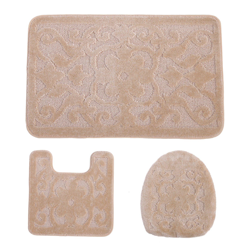 ADUTY Bathroom Washable Rug Mat 3-Piece Bath Non-Slip Long Mat 18.11''x18.11'' U-Type Pad Toilet Cover Door Mat (MAT012-Beige)