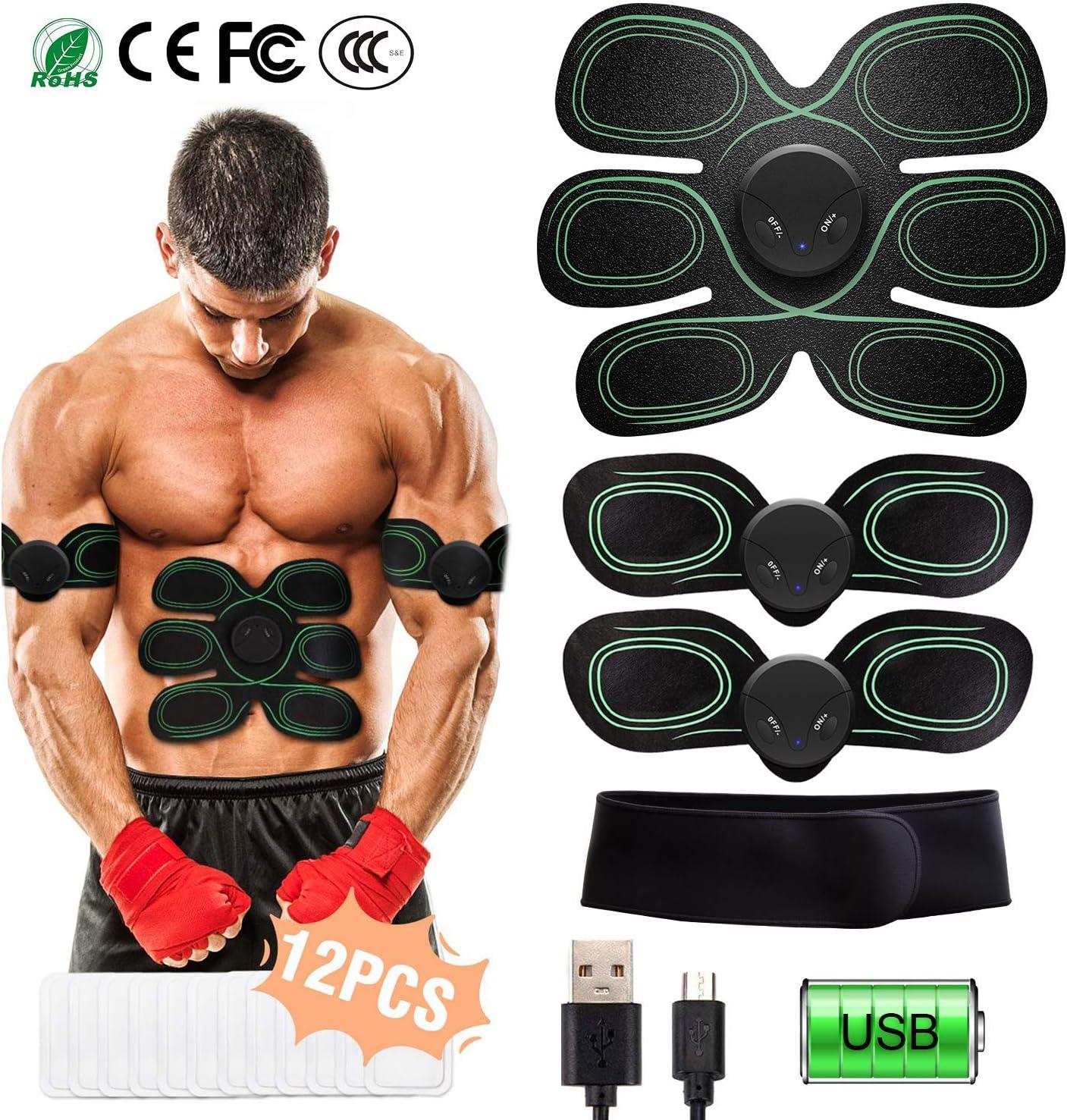 Nrpfell EMS Ceinture Abdominale /éLectrostimulation Ceinture Vibrante ABS Muscle Hanche Entra?Neur Massage Home Gym /éQuipement de Fitness