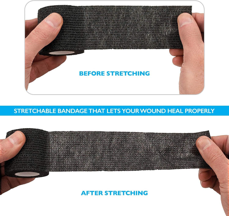 "Self-Adherent Cohesive Bandage - 12 Pack Bulk   Black Self-Adhering Medical Wrap   2"" Wide x 5 Yards Athletic Sports Tape Sweat & Water Resistant, First Aid"