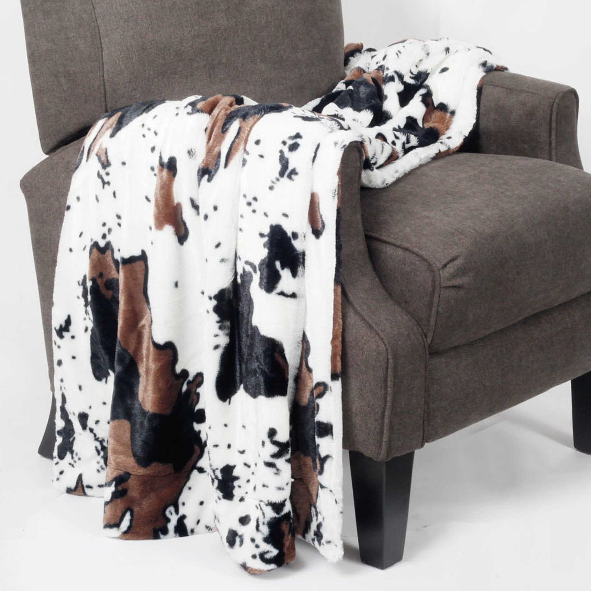 BNF Home BOON Animal Printed Double Sided Faux Fur Throw, 60'' x 80'', Cow