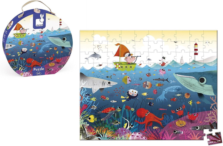 Janod Puzzle 100 piezas con maleta redonda, El Mundo Submarino (J02947)