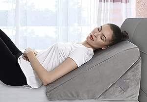 Almohada de cuña de cama ajustable de 9 y 12 pulgadas de espuma viscoelástica plegable sistema de cojín inclinado para piernas y espalda almohada de apoyo – reflujo ácido, anti ronquidos, ardor de estómago, lectura – lavable a máquina