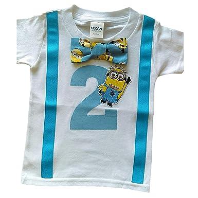 2nd Birthday Shirt Boys Minions Tee White Aqua Yellow 2T
