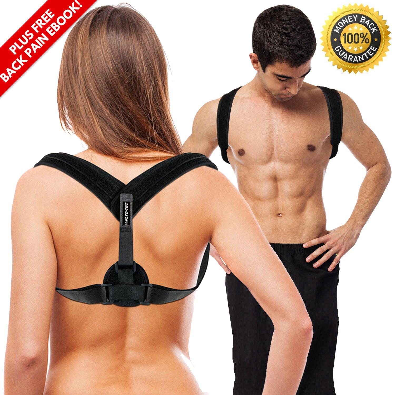 PLYO TEC Premium Back Support Posture Corrector Brace Trainer for Men & Women, Providing Relief from Neck Pain, Back Pain, Shoulder Pain & Bad Posture