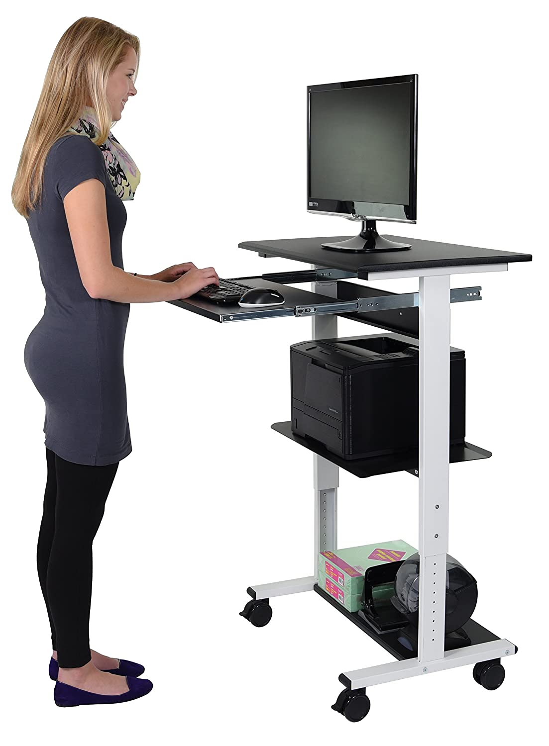 Amazon.com : Mobile Adjustable Height Stand Up Workstation (White U0026 Black)  : Office Products