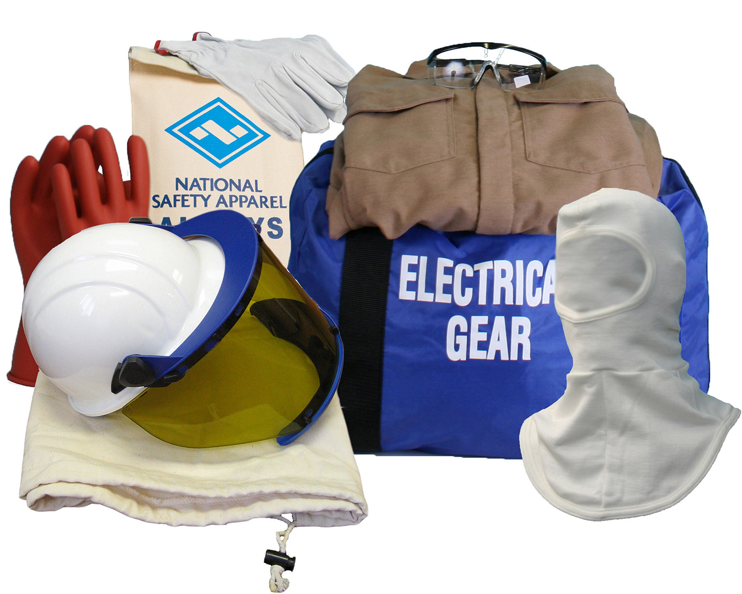 National Safety Apparel KIT2CVPR08BLG09 ArcGuard DuPont Protera Arc Flash Kit with Coverall and Balaclava, 8.5 Calorie, Large, Size 9, Khaki