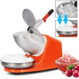 ZENY Electric Ice Shaver 300W 2000r/min w/Stainless Steel Blade Shaved Ice Snow Cone Maker Kitchen Machine (Orange)