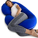 PharMeDoc Pregnancy Pillow with Blue Jersey Cover, C Shaped Full Body Pillow