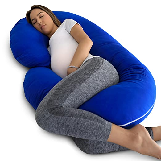 92d651d8ff19f Amazon.com : PharMeDoc Full Body Pregnancy Pillow - Maternity Pillow for  Pregnant Women - C Shaped Body Pillow w/100% Cotton Pillow Cover (New 2019  Model) : ...