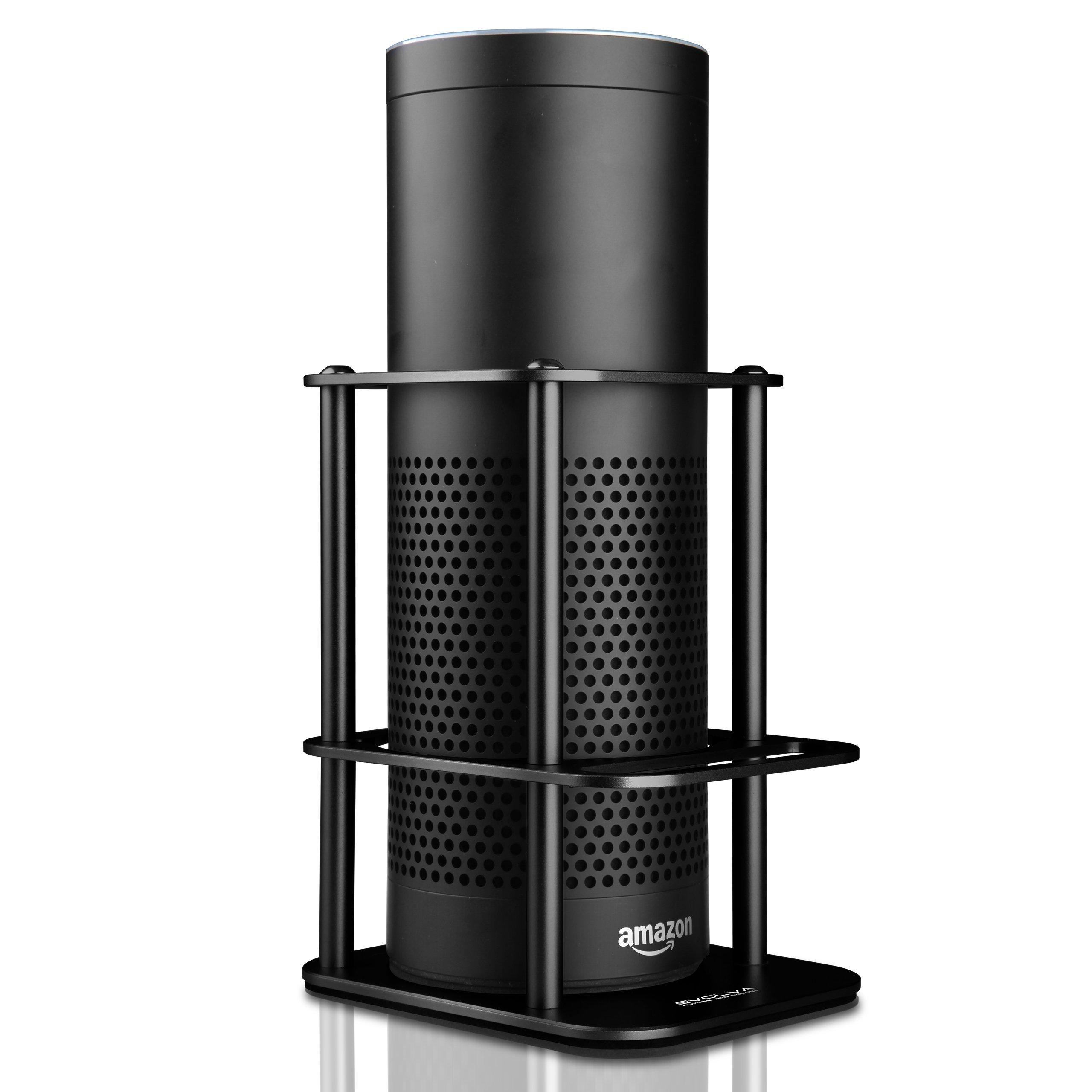 Aluminium Speaker Guard, Sturdy and, Evolva Future Technology Speaker Stand for Amazon Echo and UE MEGABOOM, Safe Guard Holder for your Alexa, Pen, Alexa Remote, Mobile Phone (Jet Black)