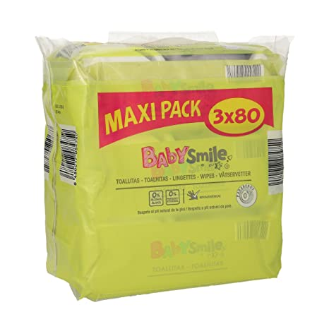 BABYSMILE toallitas para bebés pack ahorro 240 uds (3 paquetes 80 uds)