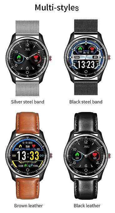 HAMSWAN MX9 ECG Smart Watch Blood Pressure PPG Heart Rate Blood Pressure Monitor Multi-Languages IP68 Waterproof Smartwatch Clock for Men Women(Brown ...