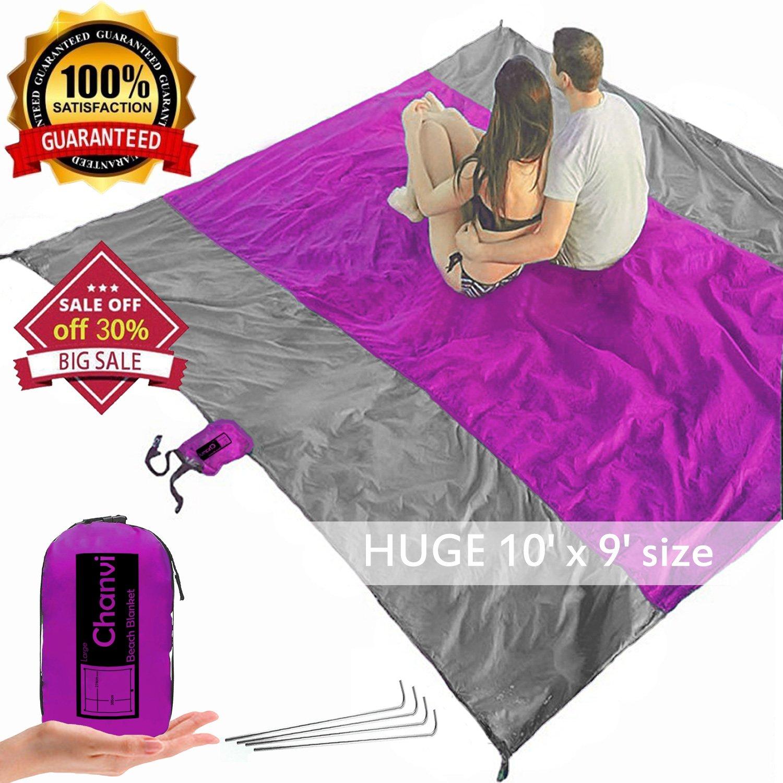 chanvi Large Beach Blanket Handy Ma T - Extraサイズ9 ' x 10 ' Holds 7大人withストラップ – Perfect forピクニック、ビーチ、RVとOutings、weather-proofと金型/カビ耐性Hugeグランドカバー B07C778QGC  パープル