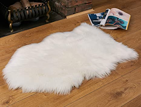 Faux Fur Fluffy Sheepskin Rug for Home Decor - Couch/Chair Covers Furry Area Rug for Living Room/Bedroom Decor - Ivory White (2x3 feet)