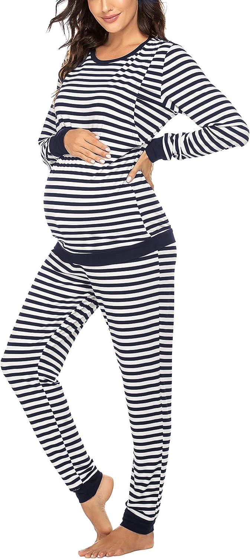 Ekouaer Maternity /& Nursing Thermal Underwear Set Striped Knit Long Johns Set Top /& Bottom Base Layer for Pregnant Women