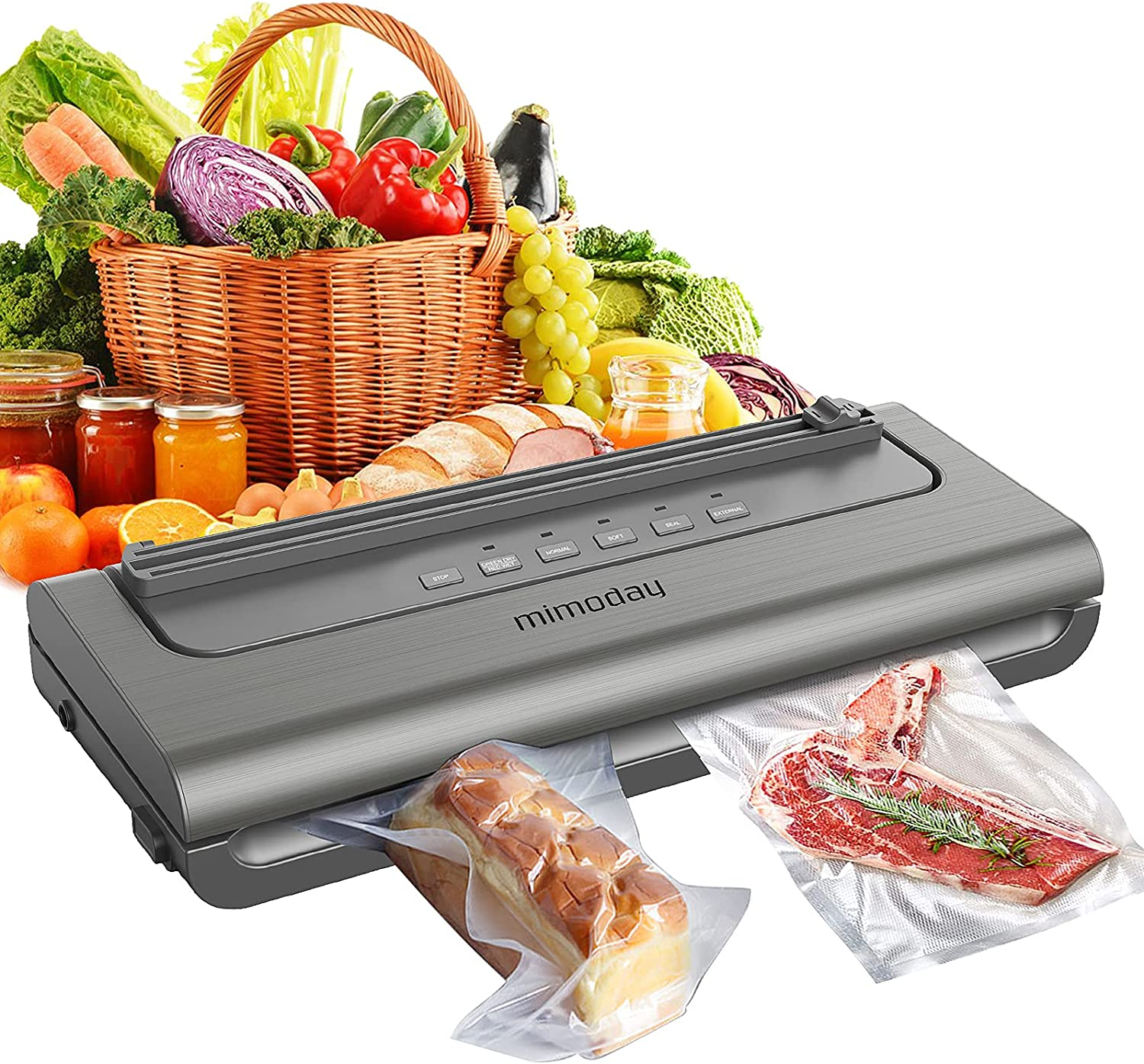 Vacuum Sealer Machine for Food Saver, Brushed Satin Vacuum Food Sealer w/Built-in Cutter, 30 Bags & Starter Kit, Dry&Wet&Normal&Soft&Seal& External Mode, Automatic, Compact Design, Mystic Silver