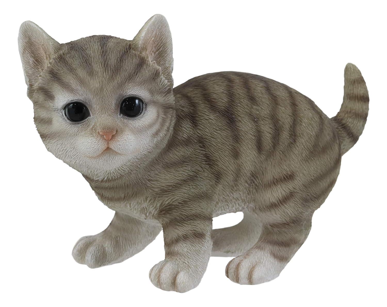 "Ebros Lifelike Crouching Grey Striped Tabby Cat Statue 8.25"" Long Realistic Glass Eyes Hand Painted Feline Cats Kittens Kitties Animal Pet Sculpture Decor Figurine"
