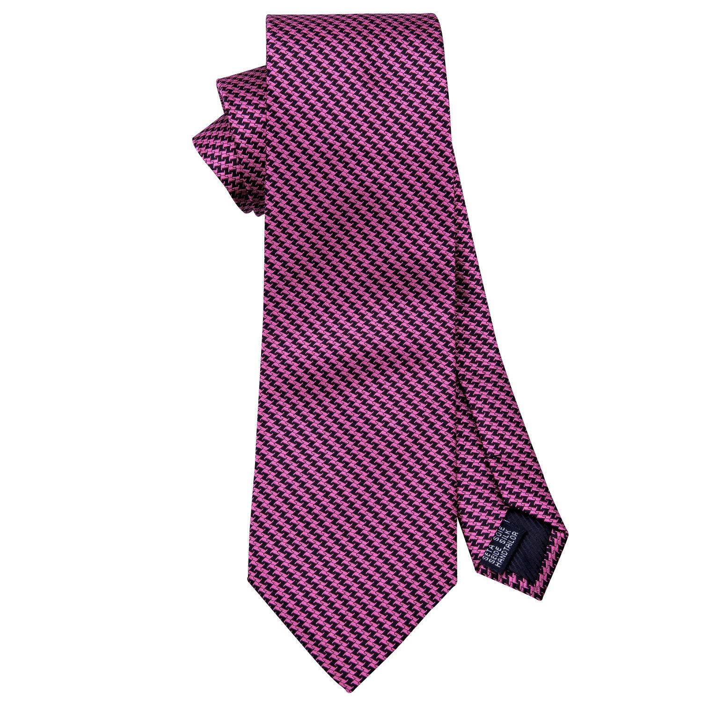 Red Stripe Silk Tie with Pocket Square Cufflinks Mens Necktie Set