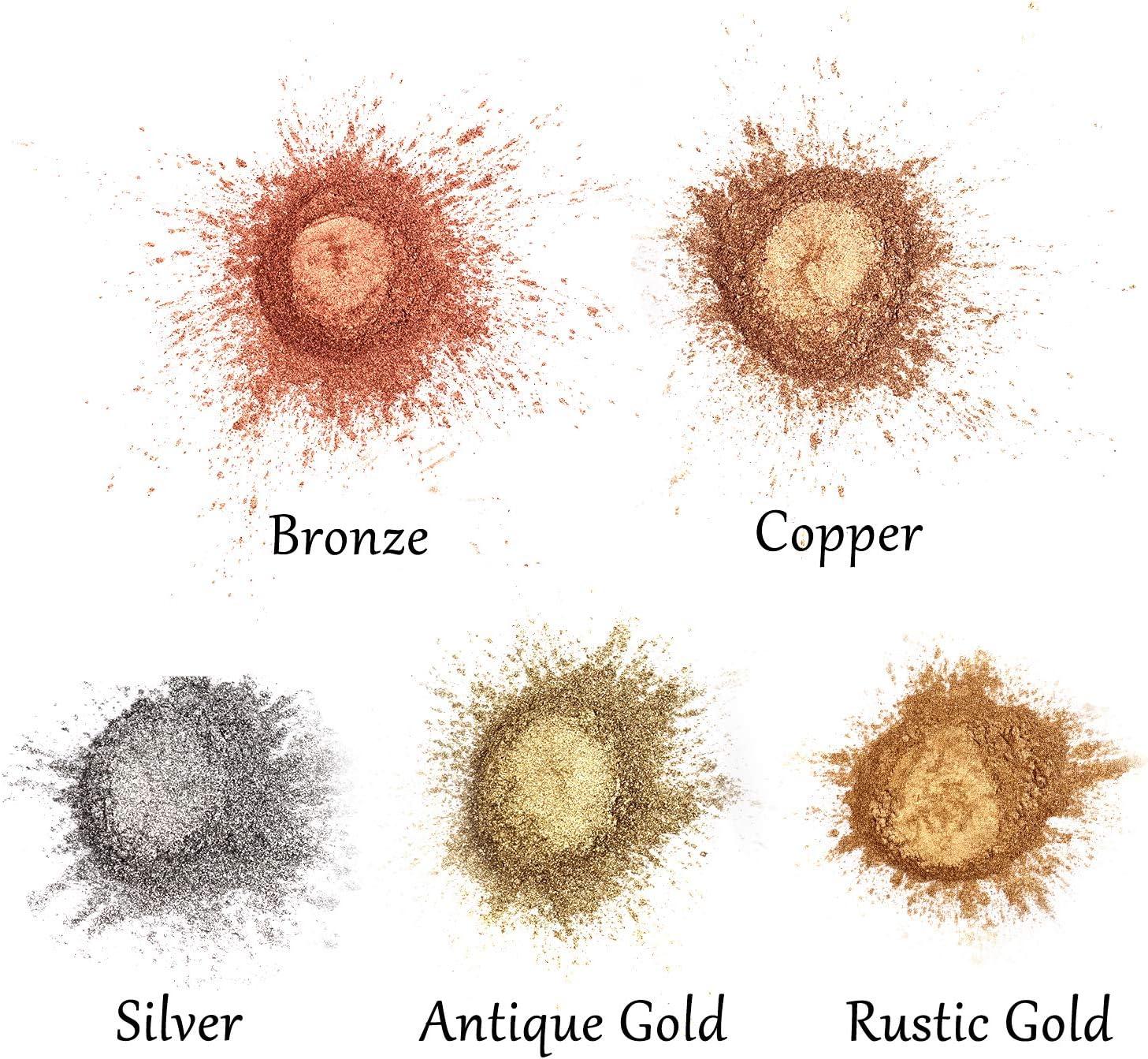 cada botella de polvo de cobre de 7 onzas para colorear resina epoxi arcilla de pol/ímero y otras manualidades. Polvo met/álico de pigmento LETS RESIN 5 colores de resina de metal brillante en polvo