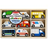 Melissa & Doug Wooden Town Vehicles Set in Wooden Tray (9 pcs)