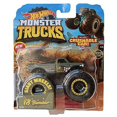 Hot Wheels Monster Trucks 1:64 Scale V8 Bomber Crushable Car, Green: Toys & Games