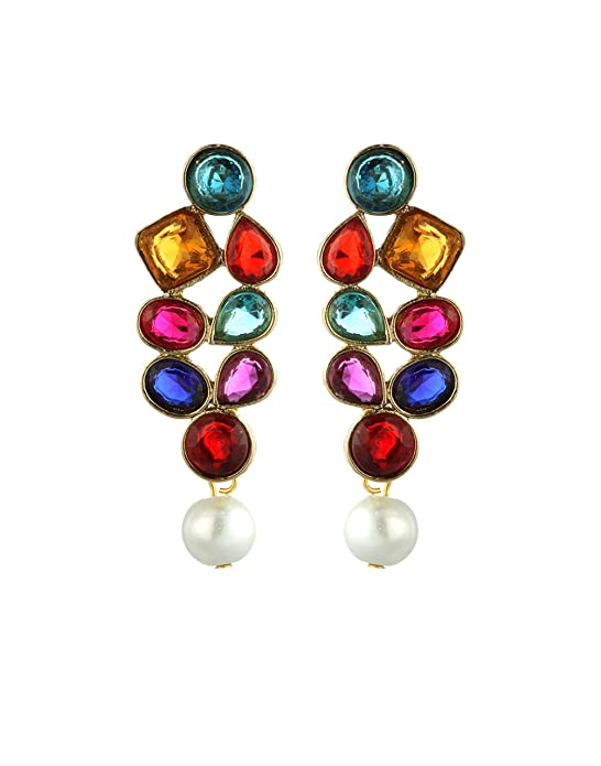 Zaveri Pearls Multicolor Metal Dangle & Drop Earring For Women-Zpfk1442 Earrings at amazon