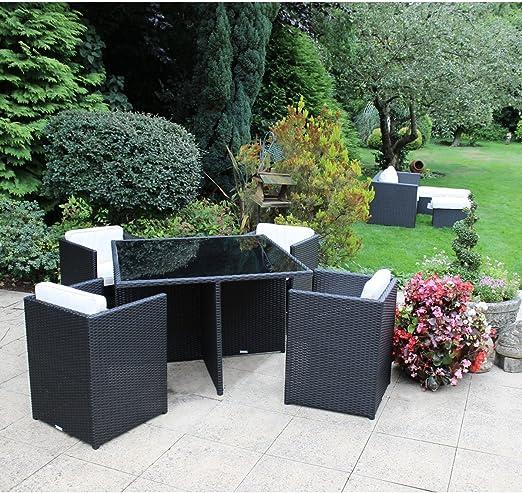 Charles Bentley jardín de mimbre de ratán de 5 piezas Cubo de muebles mesa de cristal y 4 sillas - Negro y crema: Amazon.es: Jardín