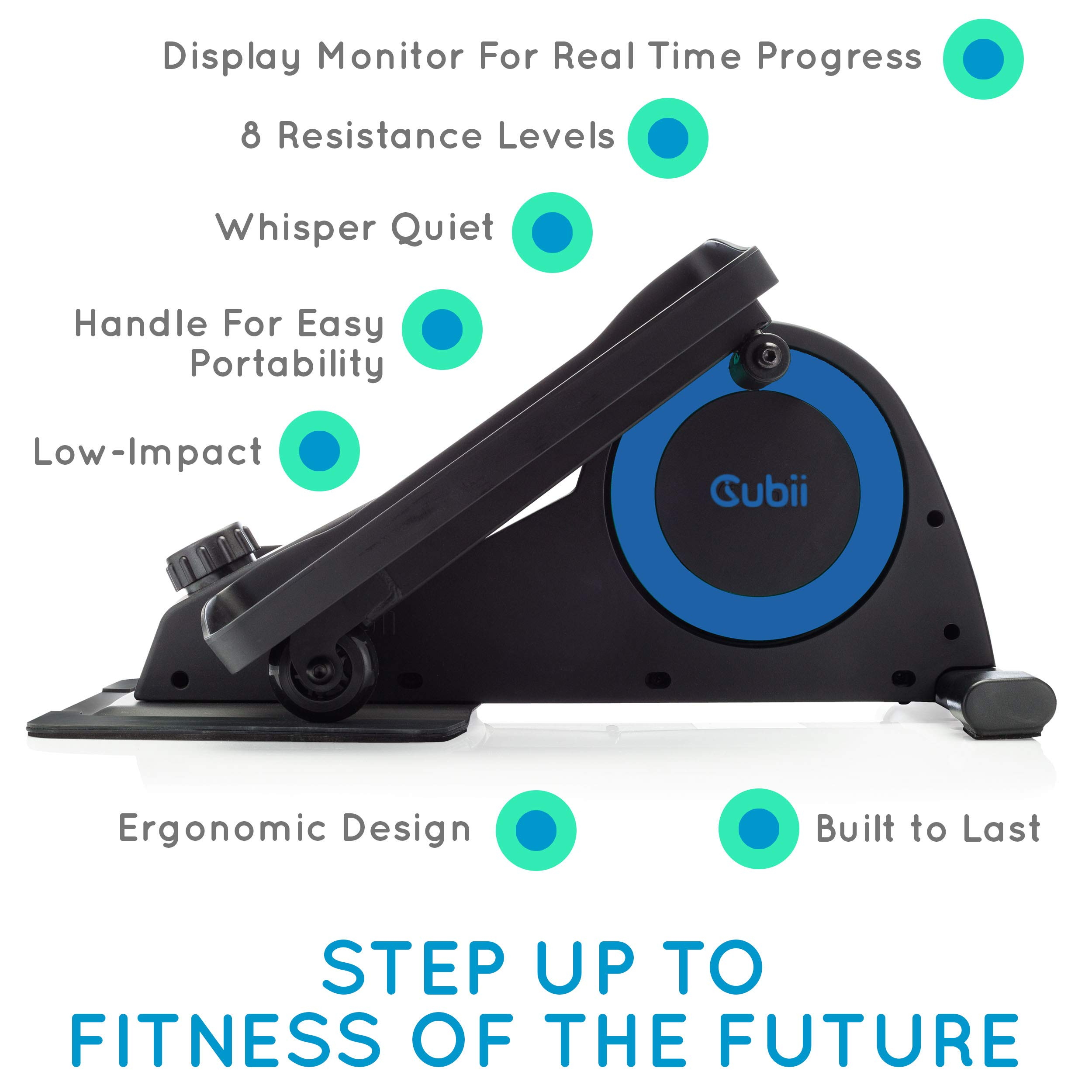 Cubii Jr: Desk Elliptical with Built in Display Monitor, Easy Assembly, Quiet & Compact, Adjustable Resistance (Royal Blue) by Cubii (Image #3)
