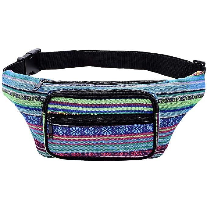 ed2d709e6e7 Kayhoma Boho Fanny Pack Stripe Festival Retro Vintage Flat Bum Bags Travel  Hiking Hip Bum Waist