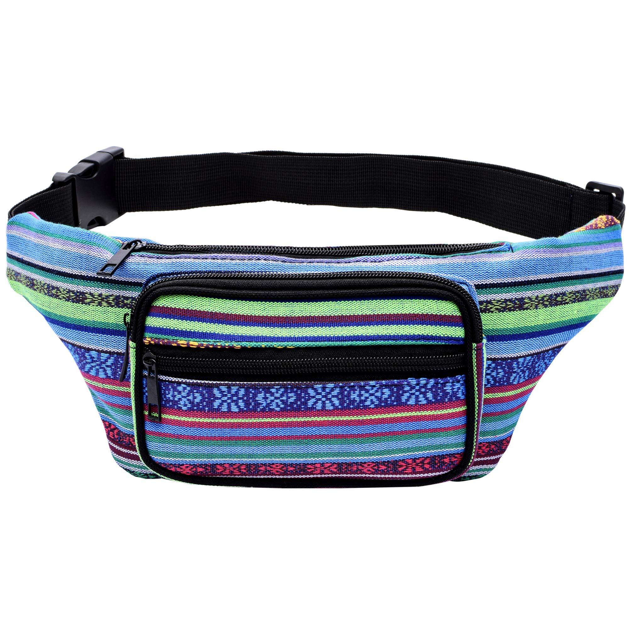 Kayhoma Boho Fanny Pack Stripe Festival Retro Vintage Flat Bum Bags Travel Hiking Hip Bum Waist Bag (Blue)