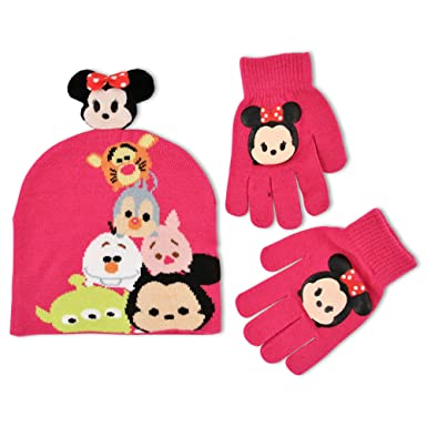 7e14aa65 Disney Big Girls Tsum Tsum Sublimated Acrylic Knit Winter Beanie Hat With  Plush 3D Minnie Mouse
