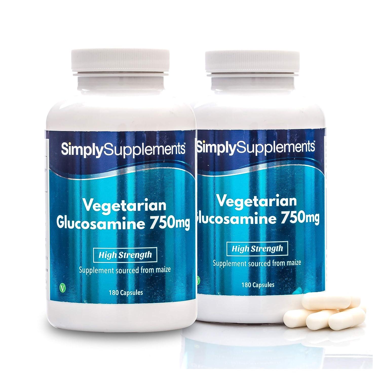 Glucosamina Vegetariana 750mg - ¡Bote para 1 año! - Apto para veganos– 360 comprimidos - SimplySupplements