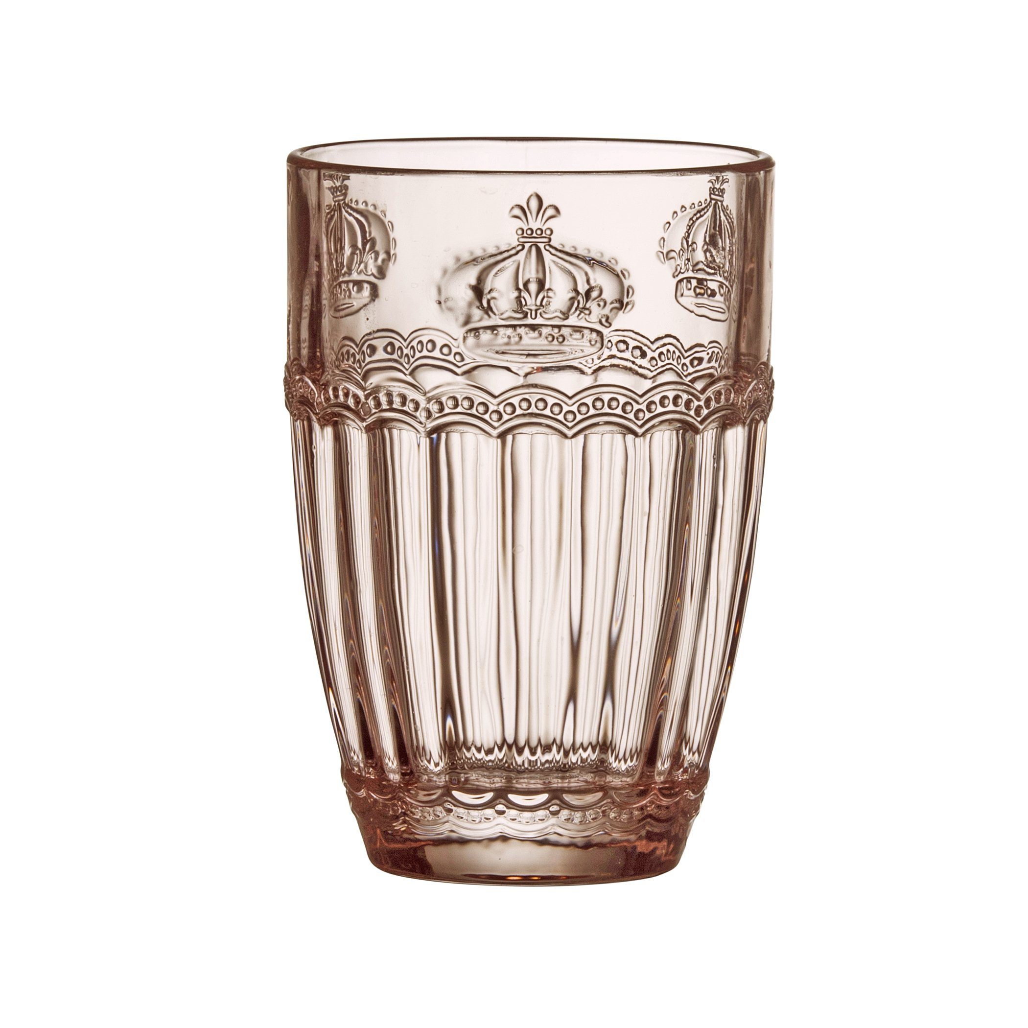 Amici Home, A7CHN413S6R, Victoria Crown Collection Rose Quartz Hiball Drinking Glass, Dishwasher Safe, Set of 6, 14 Ounces