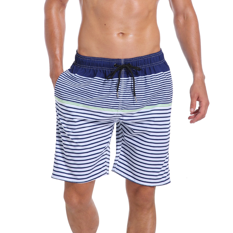 QRANSS Men Swim Shorts Striped Mesh Lined Trunks
