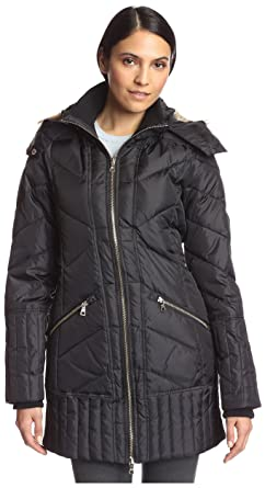 bdd3b139195e Sam Edelman Women's Zip Front 3/4 Puffer Coat, Black S at Amazon ...
