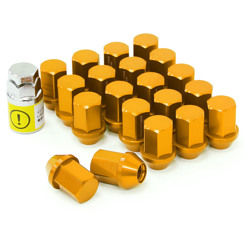 LYZER ジュラルミンナット 袋型 34mm 20本 【M12*P1.25 】ゴールド DN-0016 B074XHC7T9