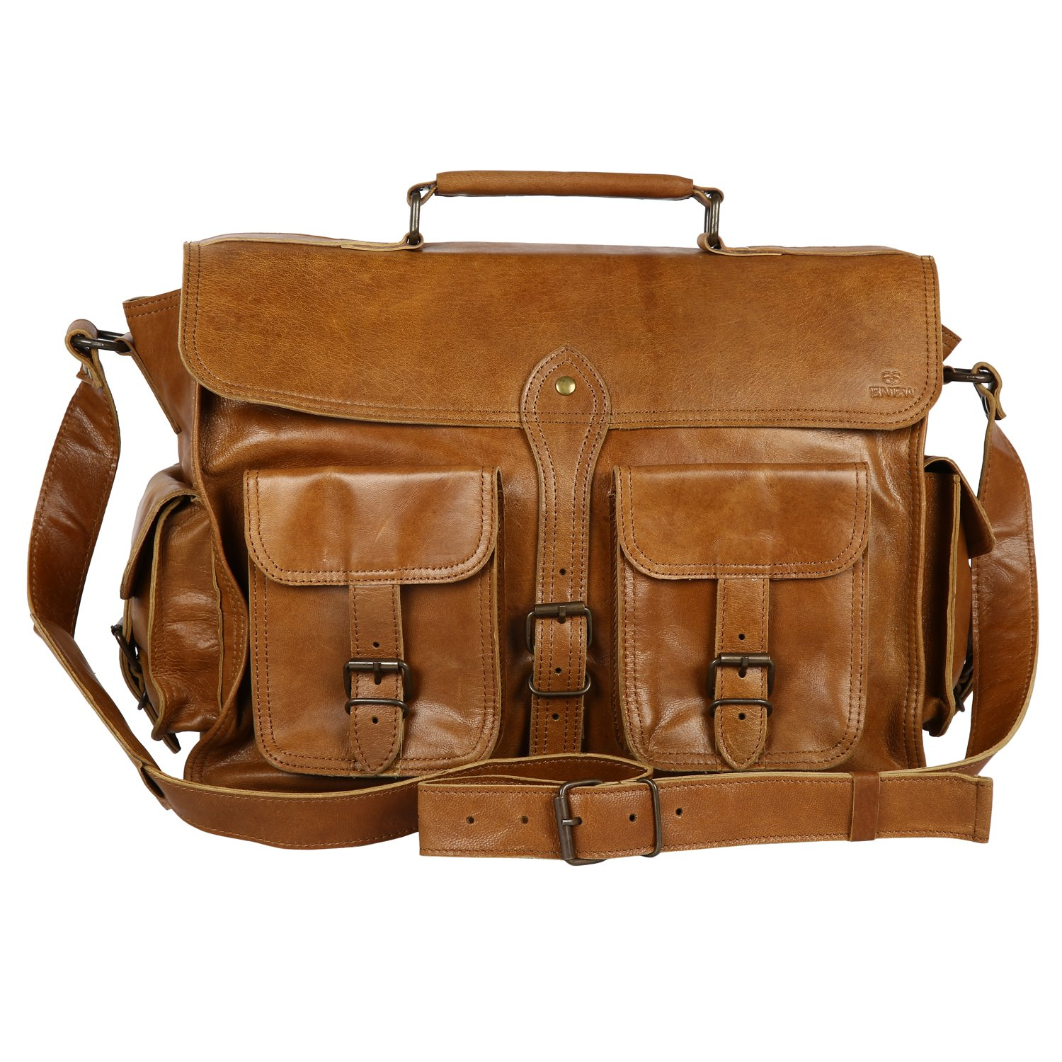 best Enew 15 Inch Vintage Handmade Genuine Natural Leather Messenger Executive Bag for Laptop Briefcase Satchel Bag