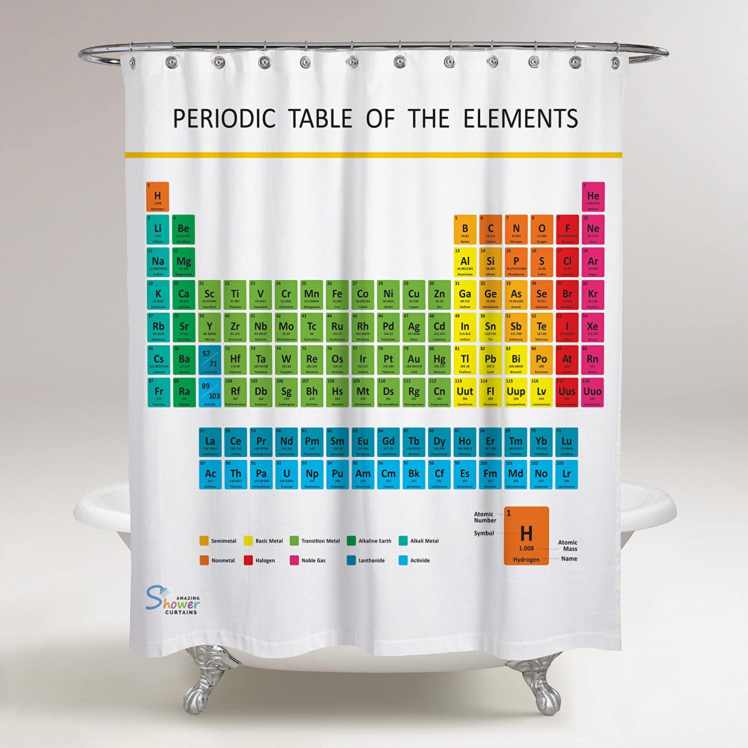 Amazon.com: Amazing Shower Curtains   Updated 2018 Periodic Table Of  Elements Shower Curtain 70x70: Home U0026 Kitchen