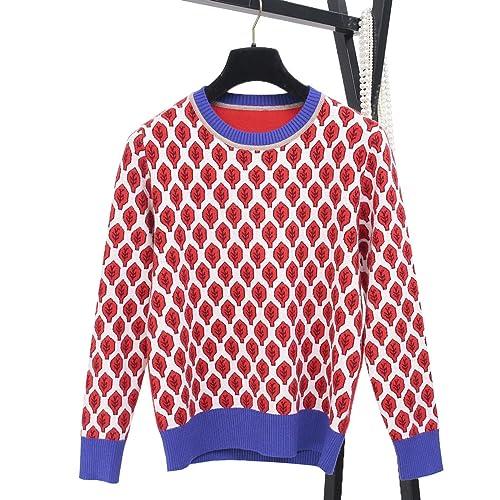 CHLXI Otoño E Invierno Nuevo Suéter Con Rojo Hojas Patrón Suéter Cuello Red De Manga Larga Conjuntos