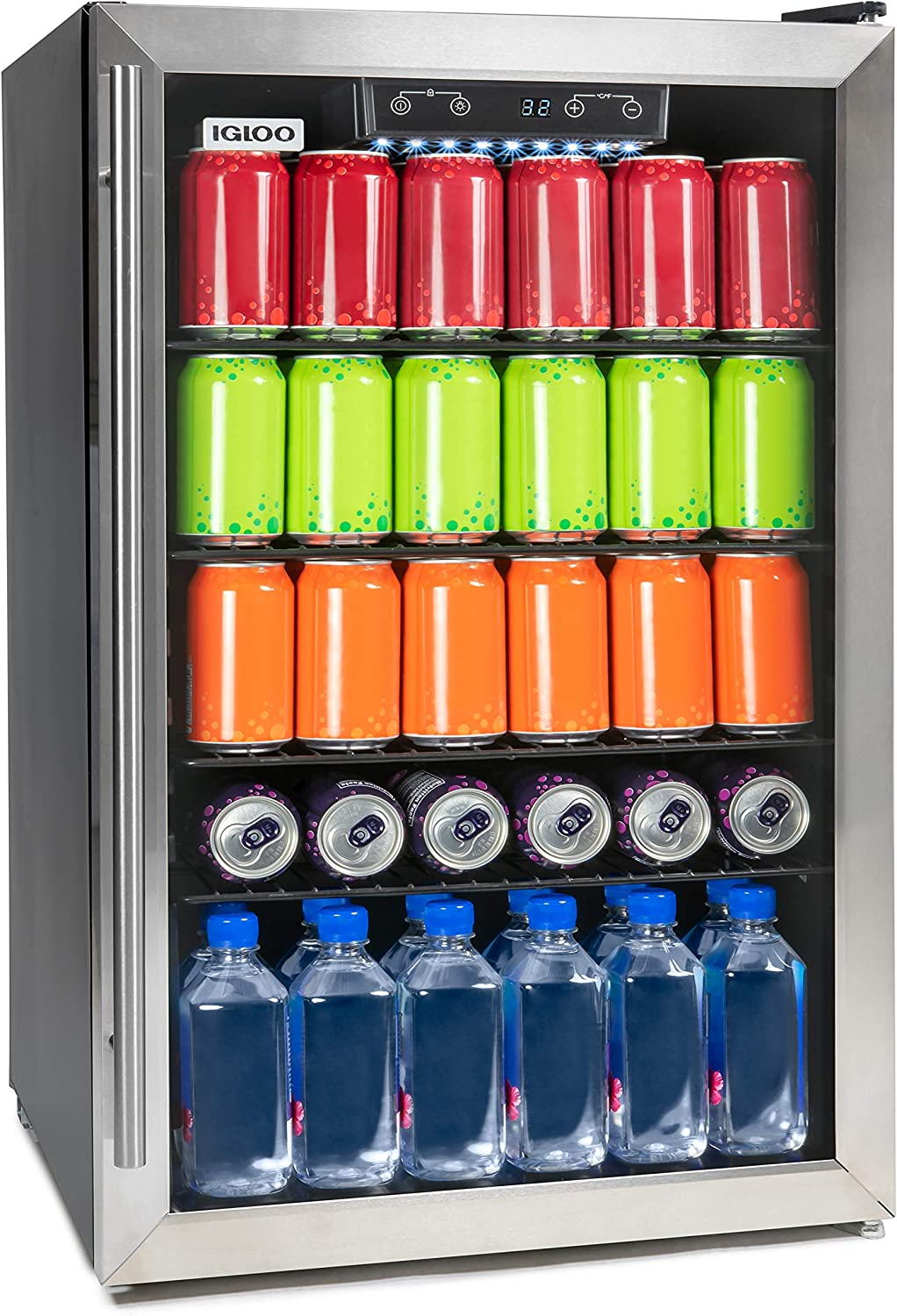 Igloo IBC41FNSS New And Improved 180-Can Capacity Stainless Steel LED-Lighted Digitally Controlled Double-Pane Glass Door Beverage Center Refrigerator and Cooler for Soda, Beer, Wine and Water