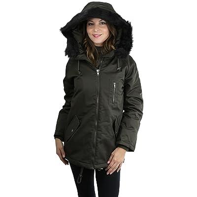 ToBeInStyle Women's Padded Jacket w/Faux Fur Trimmed Hood - DarkOlive- Medium: Clothing