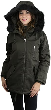 Amazon Com Tobeinstyle Women S Padded Jacket W Faux Fur Trimmed