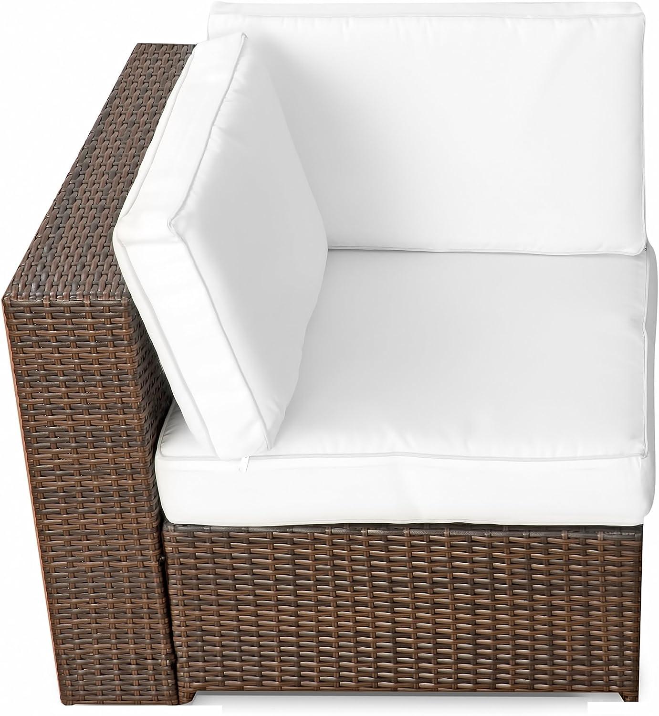 1er Polyrattan Lounge Eck Sessel - Gartenm/öbel Ecksessel Rattan - durch andere Polyrattan Lounge Gartenm/öbel Elemente erweiterbar - In//Outdoor - handgeflochten - braun XINRO/®
