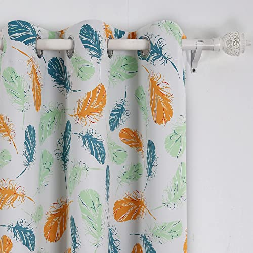 Deconovo Feather Print Panels Grommet Energy Efficient Thermal Insulated Blackout Curtain