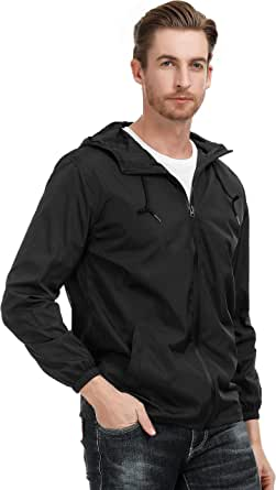 PAUL JONES Men's Lightweight Watertight Rain Jacket Windbreaker with Hood